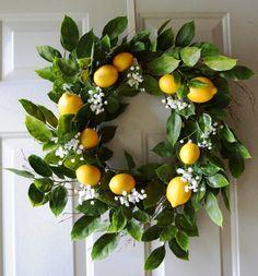 Summer Wreath Door Wreath Lemon Fruits Wreath by Hobby4Crafts