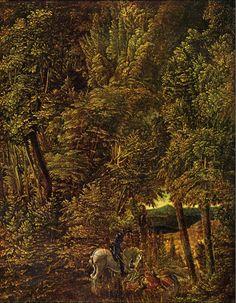 Albrecht Altdorfer . Peintre, sculpteur et graveur allemand (Ratisbonne v. 1480-v 1538) On sait peu de choses de sa vie dont il passa la majeure partie à Ratisbonne. Doué d'une imagination et d'un sentiment de la nature des plus vifs, il fut le 1° en Allemagne à conférer au paysage une complète autonomie. Il est un des 1 à avoir utilisé l'eau-forte, l''ensemble de son œuvre en fait l'un des créateurs les plus orignaux de la Renaissance allemande