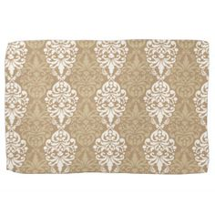 Victorian Cream Gold Vintage Damask Lace Pattern Hand Towels