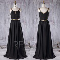 2016 Black Chiffon Bridesmaid Dress Long, A Line Wedding Dress, Gold Belt Formal Dress, V Back Maxi Dress, Prom Dress Floor Length (C015)