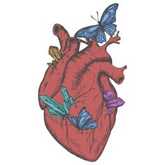 Heart with butterflies and crystals
