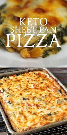 Keto Sheet Pan Pizza - Sure to Satisfy your Pizza Craving even if you're eating . - Keto Sheet Pan Pizza – Sure to Satisfy your Pizza Craving even if you're eating Low-Carb! Ketogenic Recipes, Diet Recipes, Healthy Recipes, Ketogenic Diet, Pizza Recipes, Recipes Dinner, Crockpot Recipes, Dessert Recipes, Pork Recipes