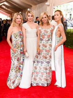 """toryburch: """"F is for Fantastic Four From left: Mélanie Laurent, Dianna Agron, Tory Burch and Maggie Q, all in custom gowns by Tory, at the 2015 Met Gala """""""