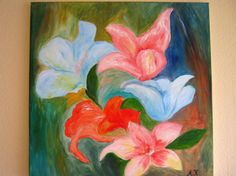 ARTFINDER: flowers in abstract by Anna Marie Lou - water mixable oil on deep edge canvas, ready to hang