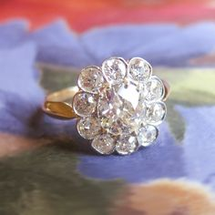 Antique 1900's Art Nouveau 2.20ct t.w. Old Cushion Cut Diamond Halo Engagement Anniversary Ring 18k Platinum | Antique & Estate Jewelry | Jewelry Finds