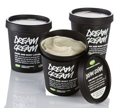 Dream Cream Hand and Body Lotion - Hello. Is it me you're looking for?  Life partner for sensitive skin  Our number one Lush product.  A soothing and cooling cream that is designed to go on even the most sensitive and easily upset skins.  Can be used on any skin types.  An elegant, simple formula that contains only ingredients that are likely to help with hot, itchy skin.