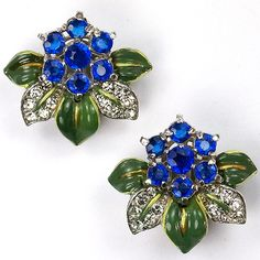Trifari 'Alfred Philippe' Sapphires Pave and Enamel Flower Clip Earrings