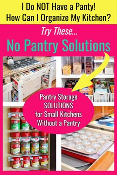 No pantry? How to organize a small kitchen WITHOUT pantry Kitchen pantry organization hacks for when you do NOT have a kitchen pantry area. Wish you had a small kitchen pantry, but you need pantry alternatives? Here's Help! No pantry ideas for small kitc Kitchen Without Pantry, Small Kitchen Pantry, Free Standing Kitchen Pantry, Small Apartment Kitchen, Diy Kitchen Storage, Small Kitchens, Kitchen Pantries, Kitchen Bars, Apartment Living