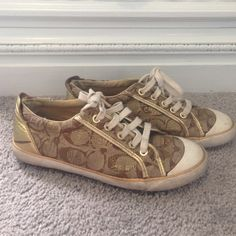 Poppy Coach Sneakers Gold accent coach shoes (Tennis) have been worn multiple times. Show some wear but still wearable :) Price is Negotiable  Coach Shoes Sneakers