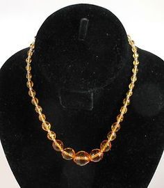 Vintage Amber Glass Faceted Graduated Bead Necklace Art Deco Era