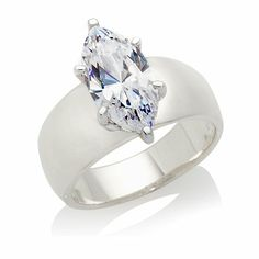 3ct Absolute™ Marquise Solitaire Wide-Band Ring