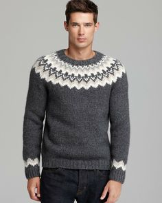 Vince Gray Nordic Handknit Crewneck Sweater for men Nordic Pullover, Nordic Sweater, Sweater Cardigan, Men Sweater, Crewneck Sweater, Icelandic Sweaters, Knitting Designs, Jumpers, Hand Knitting