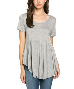 Love this Heather Gray Front Pocket Asymmetrical Tunic on #zulily! #zulilyfinds