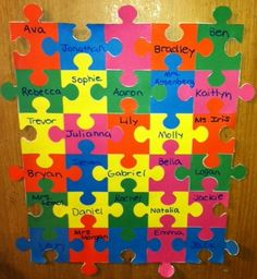 "Idea for a classroom door.""We fit together so well! Classroom Layout, Classroom Setting, Classroom Door, Future Classroom, Friendship Preschool Crafts, Class Displays, Teacher Doors, I Love School, School Doors"