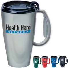 The Journey mug holds 16 oz and is designed with double wall insulation. Features a black thumb slide lid for convenient access. Perfect for promoting cafes, coffee shops, and restaurants. Makes a great giveaway at trade shows and conventions, too! Whether they use it at home or at the office, recipients won't be able to put it down. The Journey mug may be customized with your company name and logo or purchased without imprint. BPA free! Hand wash only. Wholesale Promotional Products, Trade Show Giveaways, Thermal Mug, Promotional Design, Travel Cup, Wall Insulation, Personalized Coffee Mugs, Company Names, The Office