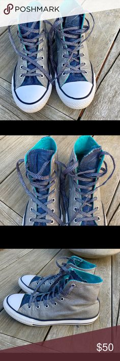 c4e089d1524b7d Converse All Star Silver  amp  Blue Jean Sneakers These high tops appear to  be custom