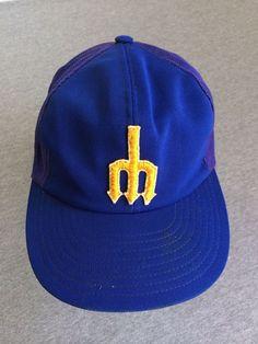 19832cdece2 Seattle Mariners 70 s SEWN Hat Mesh Snap Back Baseball Cap MLB Trident   SeattleMariners