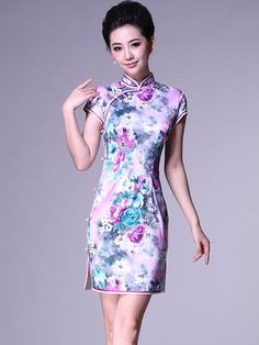Blue Short Cotton Floral Cheongsam / Qipao / Chinese Party Dress