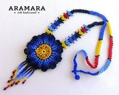 Items similar to Multicolor - Mexican Necklace Choker - beaded - Handmade by Luciana Lavin on Etsy Flower Necklace, Crochet Necklace, Collier Floral, Huichol Art, Art Perle, Mexican Jewelry, Peyote Beading, Bead Art, Seed Beads