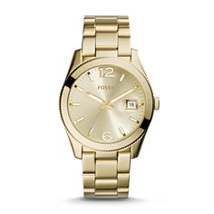 #Fossil Perfect Boyfriend Three-Hand Date Stainless Steel Watch in Gold