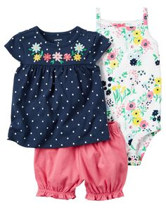Baby Girl 3-Piece Little Short Set from Carters.com. Shop clothing & accessories from a trusted name in kids, toddlers, and baby clothes.