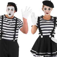 Mime Artist Costume – Mens Womens Circus Mime Fancy Dress Carnival Outfit in Clothes, Shoes & Accessories, Fancy Dress & Period Costume, Fancy Dress | eBay