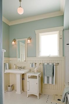 Cream, White, Blue Bathroom maybe after Josh goes off to bootcamp