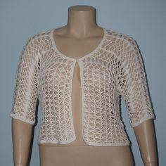 Dressbarn 1x White Open Weave Crochet 3/4 Sleeve Cropped Sweater Cardigan Top #Dressbarn #Cardigan