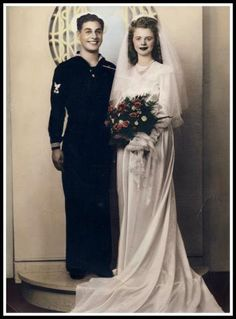 Rosemarie mccormick was a war-time bride when she married anthony marino on september 12 1940s Wedding, Vintage Wedding Photos, Wedding Dresses Photos, Vintage Bridal, Wedding Pics, Wedding Party Dresses, Wedding Bride, Vintage Weddings, Wedding Couples