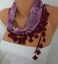 Burgundy Zebra Cotton Scarf Fall Fashion Necklace #christmas #fashion #scarf #accessories