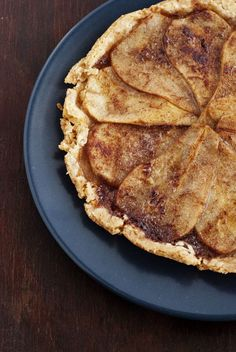 Whiskey Pear Tart with ground hazelnut in the crust- why don't we add hazelnut into every crust in the world?