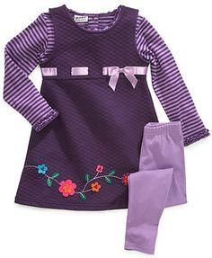 Blueberi Boulevard Kids Set, Little Girls 3-Piece Shirt, Embroidered Dress and Leggings