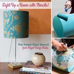 Easy DIY stencil project! How to stencil a lampshade with metallic Stencil Creme Paints | Royal Design Studio Stencils