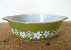 Pyrex Baking Dish-Vintage Avocado Green with Flowers by MarketHome, $10.00