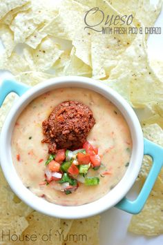 My new favorite! This Queso Blanco is loaded with fresh pico de gallo and pork chorizo making it perfect for dipping!