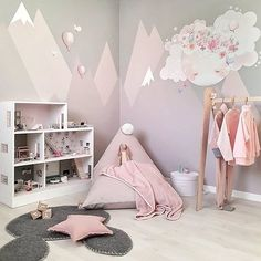 Ideas to decorate children's room walls – Children's spaces Pastel mountains, a design to dream big! spaces The post Ideas to decorate children's room walls – Children's spaces appeared first on Woman Casual - Kids and parenting Baby Room Diy, Baby Bedroom, Baby Room Decor, Girls Bedroom, Diy Baby, Bedroom Small, Trendy Bedroom, Pink Bedrooms, Baby Rooms