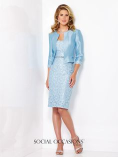 Social Occasions by Mon Cheri - 116838 - Two-piece shantung and lace dress set, strapless knee-length lace sheath with hand-beaded natural waist and center back slit, matching shantung jacket with three-quarter length sleeves and lace cuffs and removable straps included.  Sizes:4 – 20  Colors:Powder Blue, Ice Pink