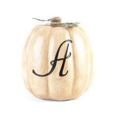 $25 White Monogram Pumpkins at Kirkland's
