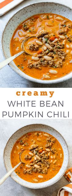 Ready in less than an hour, this turkey pumpkin chili is a hearty white bean chili using canned pumpkin puree and cannellini beans. Healthy Comfort Food, Healthy Eating, Comfort Foods, Pumpkin Chili, Canned Pumpkin, Pumpkin Soup, Pumpkin Uses, Pumpkin Puree Recipes, Cooking Recipes