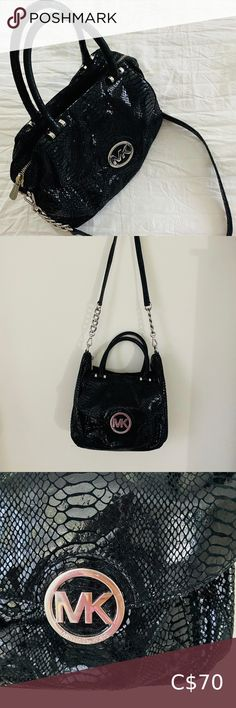 Michael Kors Black Python Black Bag In excellent condition. Taken care of, plenty of life left to use. Black with silver detailing Michael Kors Bags Crossbody Bags Plus Fashion, Fashion Tips, Fashion Trends, Michael Kors Black, Python, Crossbody Bags, Shoulder Bag, Best Deals, Silver