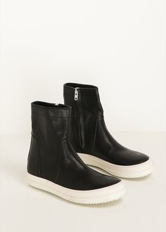 Rick Owens Vicious Leather Ankle Boot (Black / White)