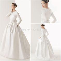 2015 Boat Neck Muslim wedding dress long sleeve Sash Bow Pockets White Satin Vintage Ball Gown vestido de noiva