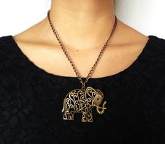 ELEPHANT Pendant Charm Necklace Chain Safari Animal by ZAHUCZKI