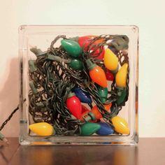 festive glass block nightlight #Christmas #DIY | crab+fish