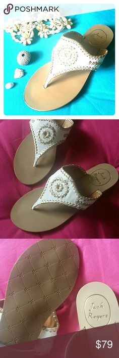 Jack Rogers White Gold Thong Sandals Beautiful Jack Rogers leather thong sandals with whipstitching details, available in Size 6, 7, 8, 8.5, 9, 10 & 11.   Also available in pink (coral)/gold & turqouise/gold - please check in my closet!  Bundle & Save! :) Jack Rogers Shoes Sandals