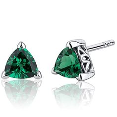 150 Carats Simulated Emerald Trillion Cut V Prong Stud Earrings Sterling Silver Rhodium Nickel Finish * Check this awesome product by going to the link at the image. (This is an affiliate link) 18k Gold Earrings, Aquamarine Earrings, Big Earrings, Black Earrings, Rhinestone Earrings, Sterling Silver Earrings Studs, Wedding Earrings, Fine Jewelry, Women Jewelry