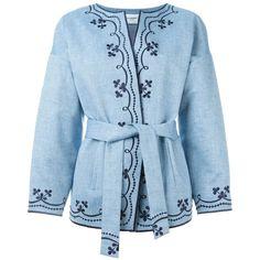Vilshenko Regan Jacket ($954) ❤ liked on Polyvore featuring outerwear, jackets, blue, blue cotton jacket, cotton jacket e blue jackets
