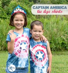 Captain America Tie Dye Shirts by Simply Kelly Designs #tiedye #captainamerica #patriotic #4thofjuly #redwhiteandblue