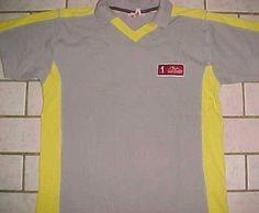 Michael Schumacher Collection 1 PPM Gray Yellow Pullover V-Neck Collar Shirt L #MichaelSchumacher #VNeckCollar