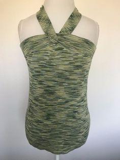 4e2d10822df ANN TAYLOR LOFT 50%Cotton Marled Green Knit Halter Top Blouse Shirt Free  Shiping  AnnTaylorLOFT  Blouse  Casual